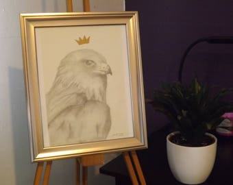 King of Birds - ORIGINAL - Drawing and Gold Marker