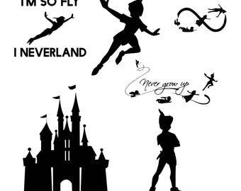 Peter Pan svg, Neverland svg, Sayings svg, Disney World svg, Disney svg, Svg For Cricut, Vector Cut Stencils, Svg Cut Vinyl Decal Monogram