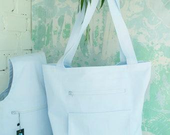 Big Project Tote, Set of 2 Big Knitting Bag, White tote bag, Project Bag, Knitting Bag,  Handbag, Crochet Bag FREE SHIPPING!!!