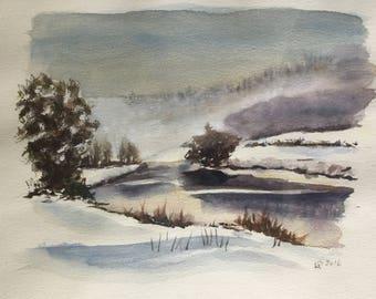 "Watercolor ""Winter Landscape"""