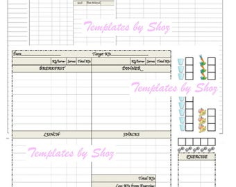 Weight Loss Chart with Water Fruit Vegetable and Exercise Tracker - PDF File