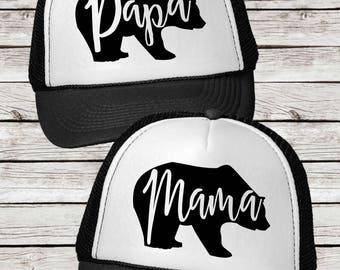 Mama Bear or Papa Bear Trucker Cap,  Papa Bear and Mama Bear Trucker Hat