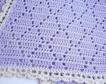 Lavender Purple Crochet Baby Girl Blanket Handmade Triangle Motif