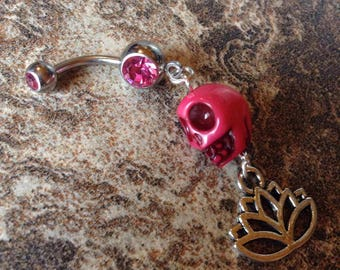 Skull and Lotus Belly Ring