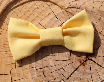 Summertime Yellow Fabric Baby Girl Bow on a one size fits all Nylon Band