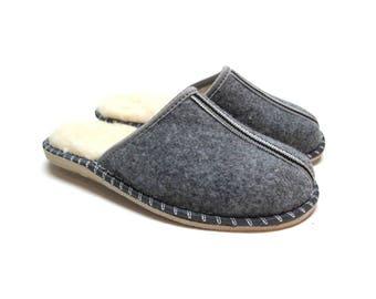 Polish Felted Wool Slippers, Folk-Inspired Handmade Comfortable Carpet Slippers, Mens Shoes