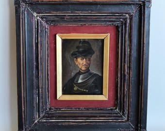 Antique Painting Oil on the Desk Portreit of REMBRANDT 1700's