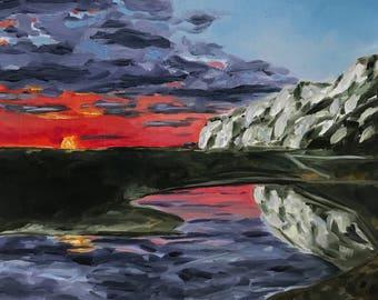 Sunset oil landscape painting of Dover cliffs; pink, purple, seascape, original, wall art