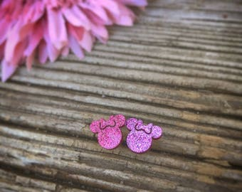 Pink Minnie Mouse Earrings.