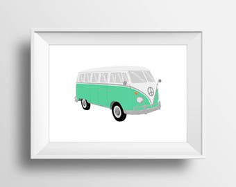 VW Pop Art, VW Bus Wall Art, Digital Download, Volkswagen Decor, Green Pop Art, Retro Car, VW Bus Drawing, Hippie Decor