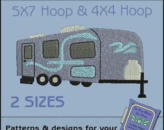 Tow Along Camper Machine Embroidery Design - Camping Embroidery File - Filled Stitches