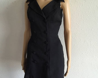 Black 90's double breasted clared sleeveless mini dress