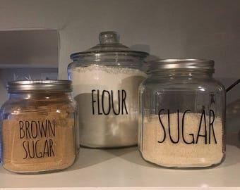 Kitchen Storage Labels, Set Of 4 Canister Labels, Customizable Storage  Labels, Flour,