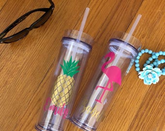 Personalized Pineapple or Flamingo Clear Acrylic Tumbler ready to ship - just add the name!