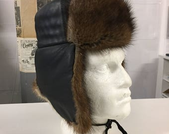 Vintage Real Fur Mink & Leather Trapper Hat by Gaoqiu Black Brown Ear Flaps Size XS Approx 20.5 inches FREE WORLDWIDE Postage