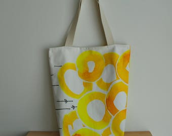 Yellow circles and white cotton tote, double-sided cotton bag, festival bag, shopping bag, market bag, library bag