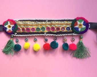Boho Hippie Beaded Rainbow Headpiece Festival Gypsy Headdress
