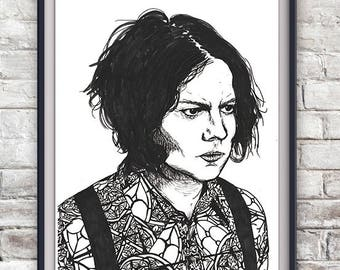 Jack White Illustration Print - The White Stripes, The Raconteurs, The Dead Weather, Third Man Records, Music Portrait