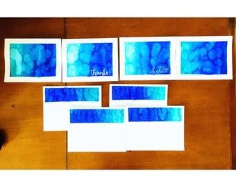 Aqua tye dye cards