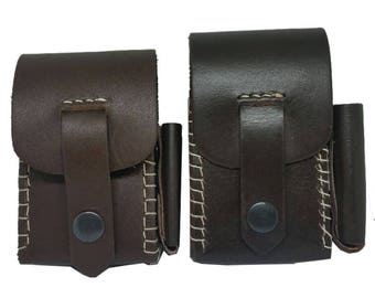 Genuine Brown Leather Cigarette Cases with Lighter Holder