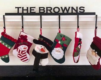Personalized Christmas Stocking Hanger - (Block Font - 6 Hooks) - Custom American Steel with Black Finish - Holiday Season Decor Galore!