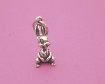Rabbit Sterling Silver Charm 3D Bunny Vintage Jewelry Pendant Necklace