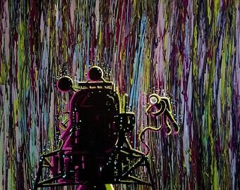 Lunar Rain - and original acrylic painting by flooko