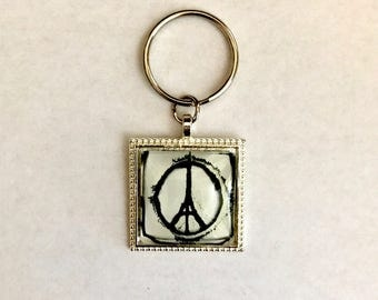 Key Chain with Split Ring. Glass Cabochon. Square Glass Dome. Silver Pendant Tray. Key Ring. FAIS. Key.fais100