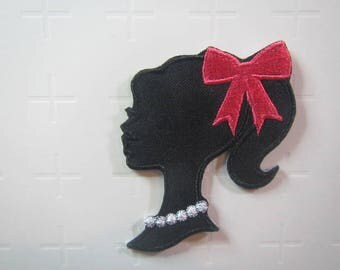 Silhouette – Lady with Pink Bow and Pearl Necklace –  Iron on Patch