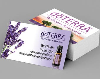 "doTERRA business cards, doTERRA cards, doTERRA, Square corners or 1/8""  or 1/4"" rounded edges. Design 1"