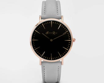 Ladies Watch, Women Leather bracelet, minimalist, gift for her, cheap leather watch, Christmas Watch, Grey Leather (Rose Gold/Black)