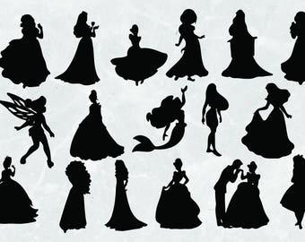 Disney princess Silhouettes | SVG Cut Files | 300 ppi