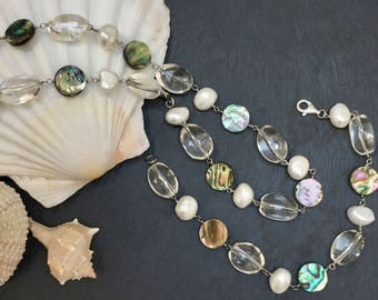 Necklace and bracelet - silver - mother of pearl - pearl - quartz