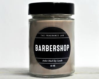 "Luxury Soy Candles - ""Barbershop"" Amber Musk Scented 
