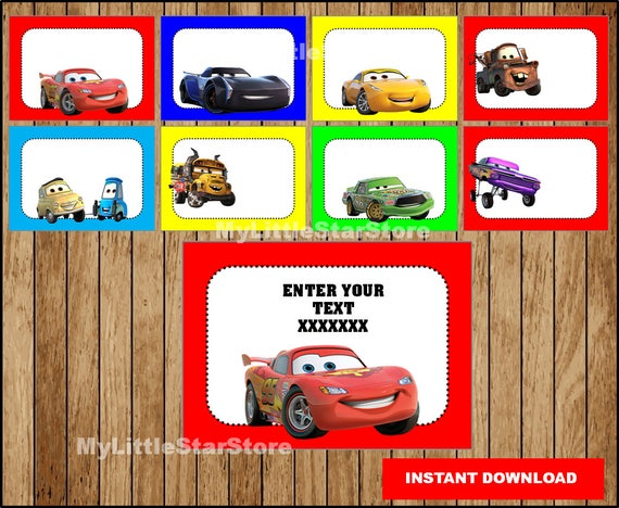 cars book labels printable cars party tags cards disney cars 3 back to school labels editable instant download