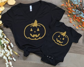 halloween shirts, pumpkin shirts, matching halloween shirts, matching shirts, happy halloween, trick or treat, mom and me matching