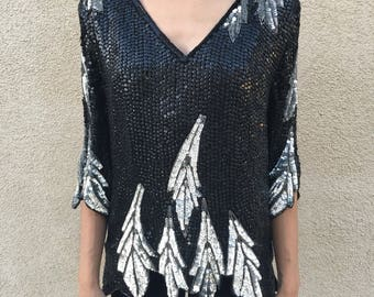 Falling leaves sequin top