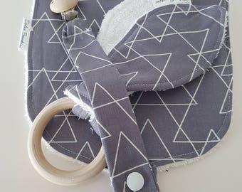 Grey and white design 3 piece set - Bib, Dummy Chain & Teether (Medium)