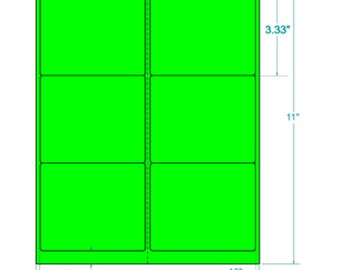 """Laser Labels Shipping 600 Labels 4"""" x 3.333"""" Neon/Fluorescent GREEN Labels"""