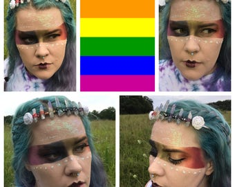 Rainbow Wrapped Crystal Crown