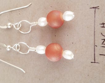 Caramel druzy earrings with fresh water pearls