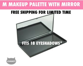 M Makeup Palette Black with Mirror - Magnetic - Fits 18 Eyeshadows*