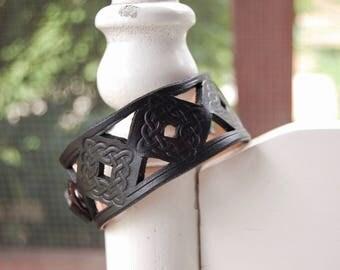 Black Celtic Weave Leather Bracelet