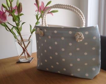 Cotton Tote Bag, Beach Bag, Daiper Bag, Shopping Bag, Duck Egg Blue, Polka Dot Fabric