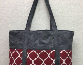 Large Tote Bag (red/gray)