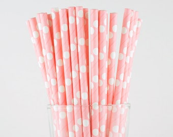 Pink Polka Dots Paper Straws - Party Decor Supply - Cake Pop Sticks - Party Favor
