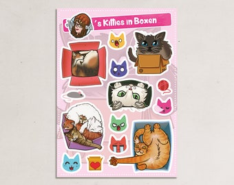Kitties in boxes sticker set - 15 cats stickers