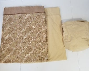 Vintage Westpointe Stevens 3 Pc Full Sheet Set Brown Beige Green Paisley