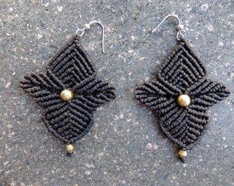 Macramé earrings Brown