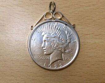 Vintage 1922 USA Solid Silver Peace Dollar Coin Pendant, Denver Mint